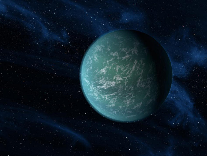 This artist's rendering shows Kepler-22b, a planet known to circle in the habitable zone of a sun-like star.