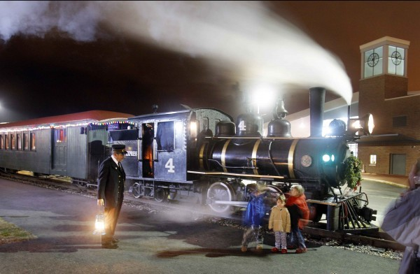 "The Maine Narrow Gauge Railroad has resumed its ""Polar Express"" train rides to ""The North Pole,"" leaving from Portland's Ocean Gateway Terminal. The rides continue through Dec. 23."