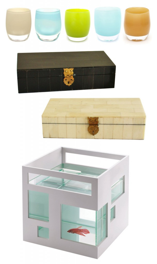 From top, Glassybaby votive holders; bone clad boxes by High Street Market; and Umbra's fish hotel.