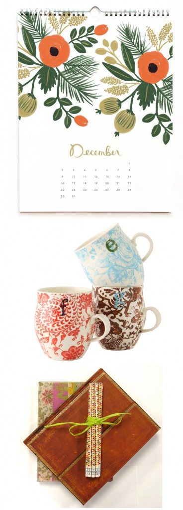 From top, Rifle Paper's hand-painted botanical calendar; Anthropologie's monogram mugs; and journals by Orange Circle Studio (partially hidden) and Paperblanks.