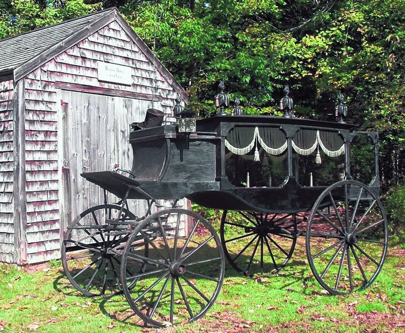 A trapdoor in the bottom of a horse-drawn hearse allowed water from melting ice to be emptied. In days before embalming, ice was used to keep the deceased preserved.