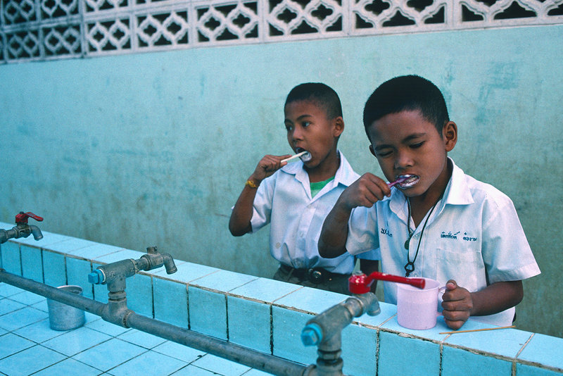 """In this photograph by James Marshall from """"Maine Photographers: Eyes on Asia,"""" two boys are seen brushing their teeth before class begins in Phetchburi, Thailand."""