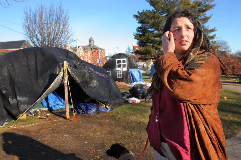Macy Lamson of Augusta says she plans on staying at the Occupy Maine encampment in Lincoln Park in Portland throughout the winter. She also says that she has a bag packed and ready to go just in case the camp gets cleared out suddenly.