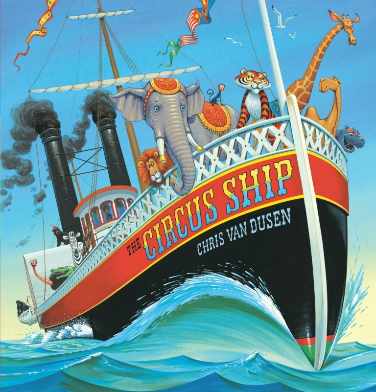 "Chris Van Dusen, author of ""The Circus Ship,"" appears Saturday at the Penobscot Marine Museum in connection with the museum's new exhibition, ""The Circus Comes to Town."""