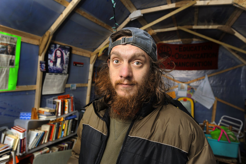 Matthew Coffey has been staying at the Occupy Maine encampment for several weeks and hopes the group can bring members of other Occupy groups to Portland.