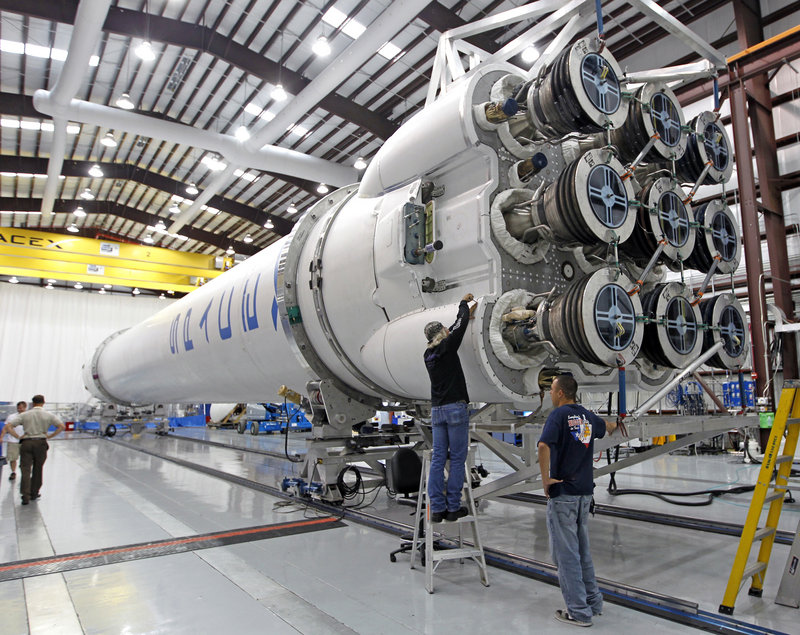 The Space X Falcon 9 rocket is being readied to carry cargo to the International Space Station. If the launch succeeds, Space X could end up transporting astronauts.