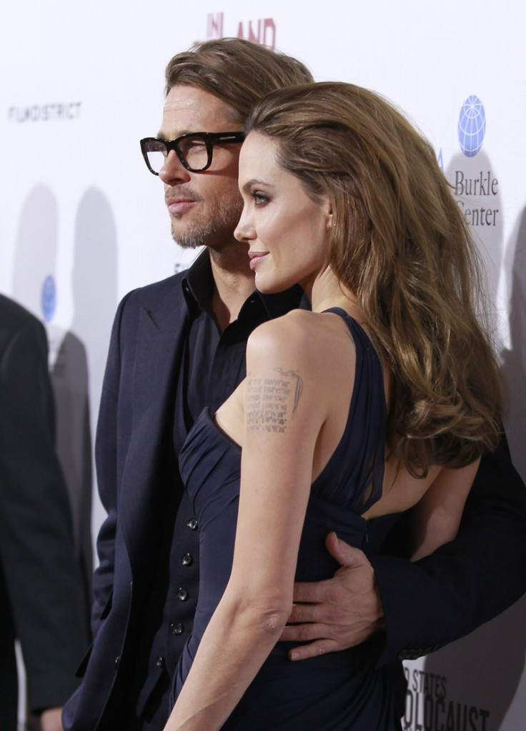 """Angelina Jolie and Brad Pitt appear at the screening in Los Angeles Thursday of """"In the Land of Blood and Honey"""" for friends and industry types."""