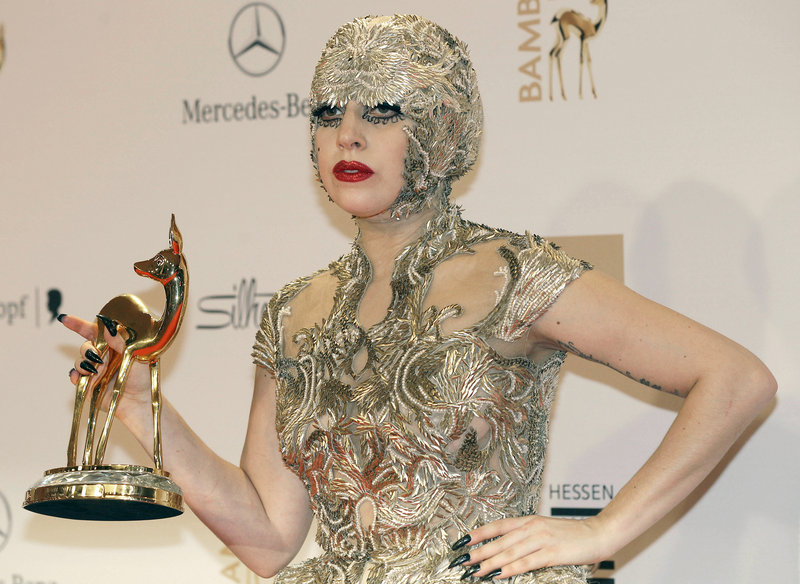 Lady Gaga, shown receiving the Bambi trophy last month in Wiesbaden, Germany, performed for a hometown crowd in New York City on Saturday.