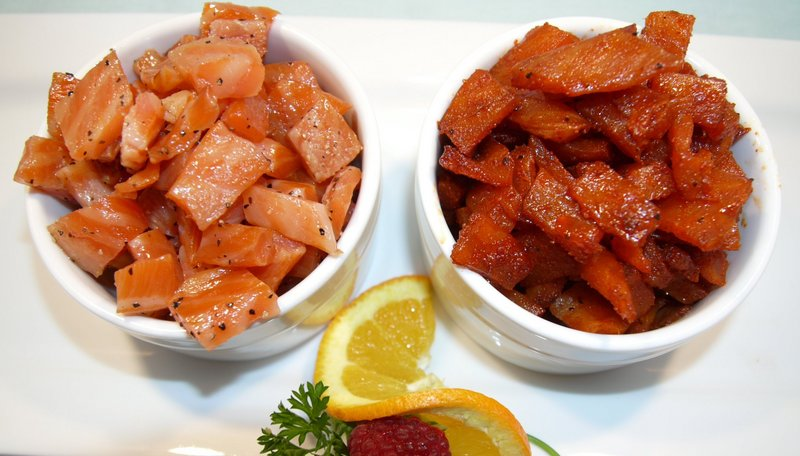 SULLIVAN HARBOR FARM'S OMEGA BURST MAPLE AND PEPPER SMOKED SALMON