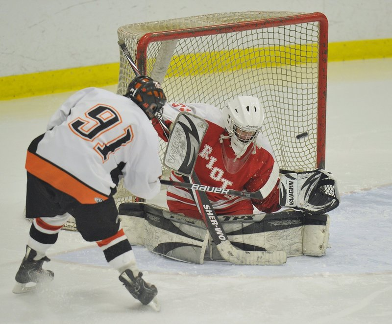 Dominic Desjardins is in his fourth year as the starting goalie at South Portland and was chosen by coaches as a Western Class A all-star last season.