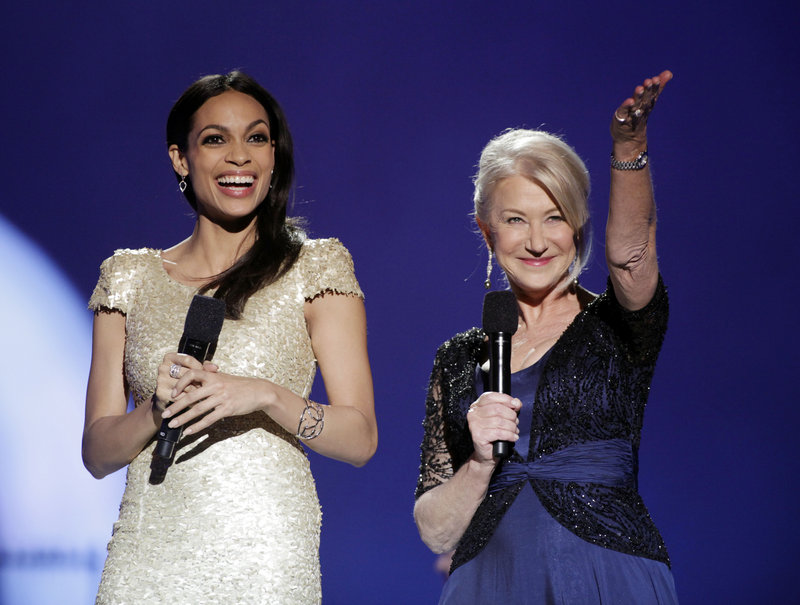 British actress Helen Mirren, right, and American actress Rosario Dawson host the Nobel Peace Prize concert Sunday. Earlier, Mirren hailed this year's winners: Liberian President Ellen Johnson Sirleaf; women's rights activist Leymah Gbowe and democracy activist Tawakkul Karman.