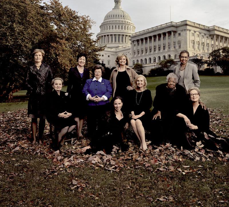 Crusaders for a National Women's History Museum, from left: museum president Joan Wages, Madeleine Albright, Sen. Susan Collins, Sen. Barbara Mikulski, Barbara Bush (seated on ground), Rep. Carolyn Maloney, Patricia Nixon Cox, Maya Angelou, Rep. Eleanor Holmes Norton and Meryl Streep.