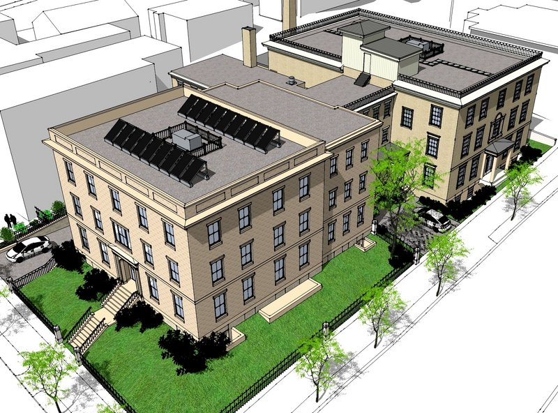 The plans for Elm Terrace include a garage on the ground floor of one side of the building.
