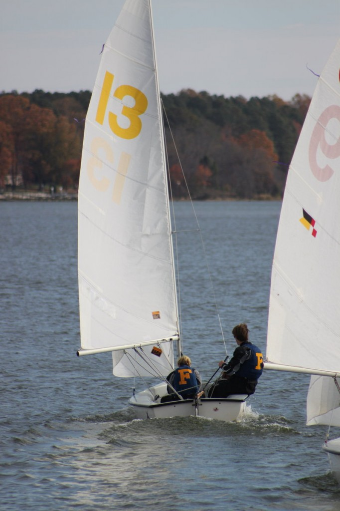 Members of the Falmouth High sailing team race during the Atlantic Coast Championship at Tall Timbers, Md.