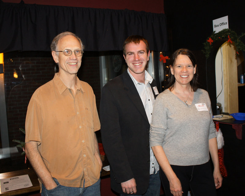 Freeport Factory Stage founder Bud Carlson, technical director Eric Sawyer and founder and artistic director Julie George-Carlson.