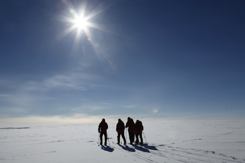 Norwegian Prime Minister Jens Stoltenberg joins three polar adventurers heading to the South Pole Wednesday.