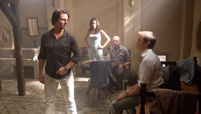 "From left, Tom Cruise, Paula Patton, Simon Pegg and Jeremy Renner in ""Mission: Impossible – Ghost Protocol."""