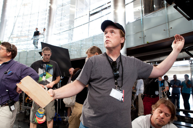 Director Brad Bird on the set.