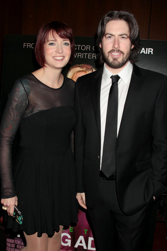 "Writer Diablo Cody and director Jason Reitman pose for photographers at the recent New York premiere of ""Young Adult."""