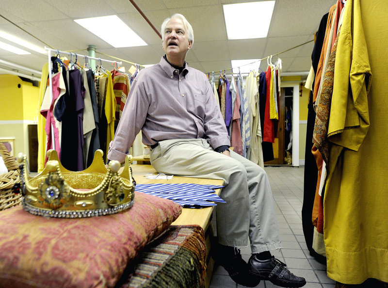 "Billy Hobbs, sitting in the costume room Friday at First Parish Unitarian Universalist Church, says he has been participating in the church's live Nativity for 50 years. ""It has become the fabric of my life,"" Hobbs said."