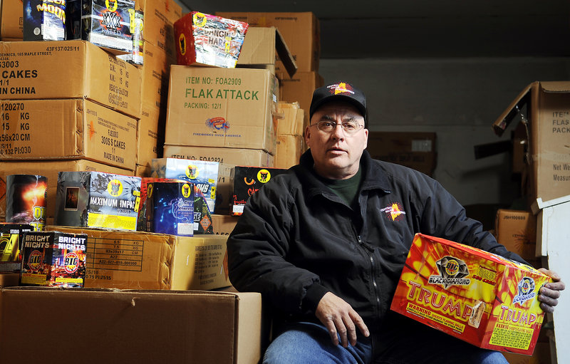 Steve Marson, owner of Central Maine Pyrotechnics in Hallowell, hopes to open fireworks stores in several Maine towns, but says few buildings meet the legal requirements.