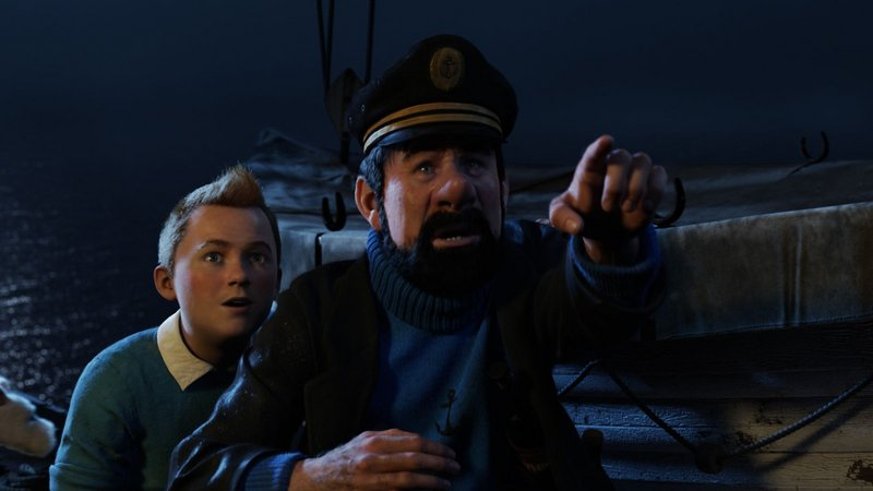 "Tintin, voiced by Jamie Bell, and Capt. Haddock, voiced by Andy Serkis, in Steven Spielberg's ""The Adventures of Tintin."""