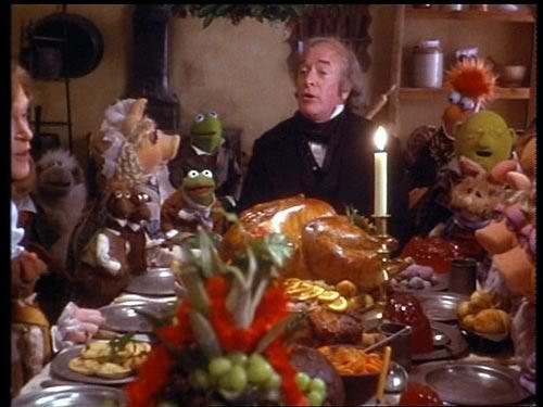 "Michael Caine as Scrooge in ""The Muppet Christmas Carol."""