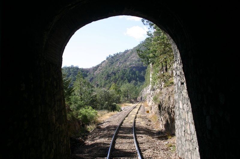 A view from the caboose of El Chepe, the government-run train.
