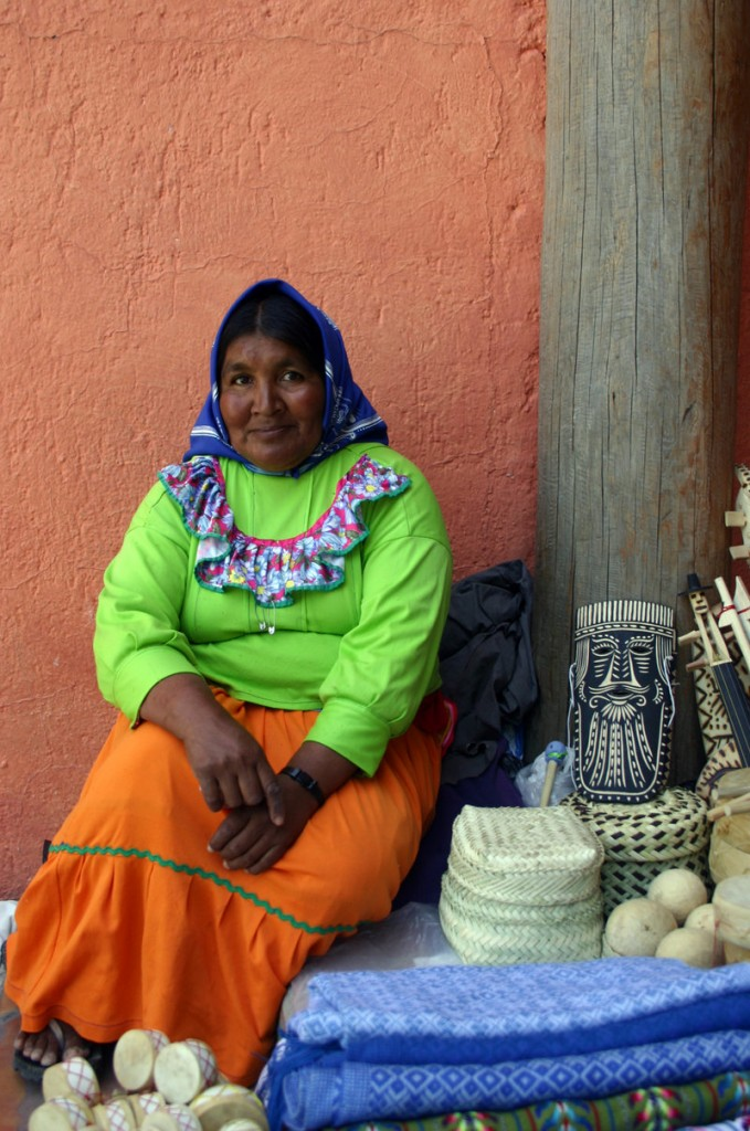 A Tarahumara woman sells goods in front of the Posada Barrancas Mirador hotel in Divisadero.