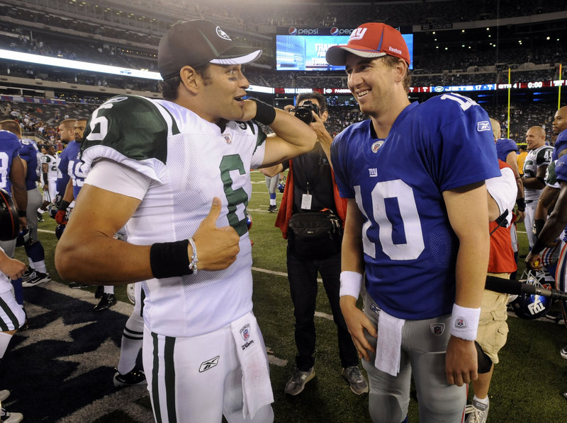 The opposing quarterbacks – Mark Sanchez of the Jets, left, and Eli Manning of the Giants – will have playoff berths on their minds when they meet Saturday.
