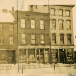 The historic block of buildings along Fore Street at Boothby Square, with 340 Fore St. at the far right, in the 1924 archival image.