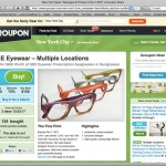 This screen shot shows eyewear coupons for the New York City area offered by Groupon.com.