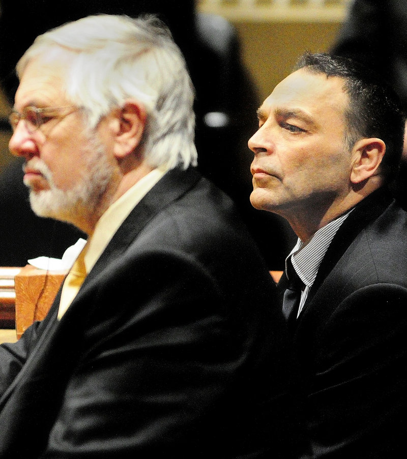 Raymond Bellavance Jr., right, and his attorney, Andrews Campbell, listen to the verdict Friday as a jury found him guilty of two charges of arson related to a June 3, 2009, fire that destroyed the Grand View Topless Coffee Shop in Vassalboro.