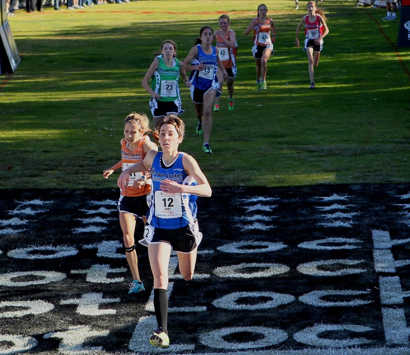 Abbey Leonardi of Kennebunk crosses the finish line at the Foot Locker national championships in San Diego in fourth place – the highest finish ever for a Maine girl.