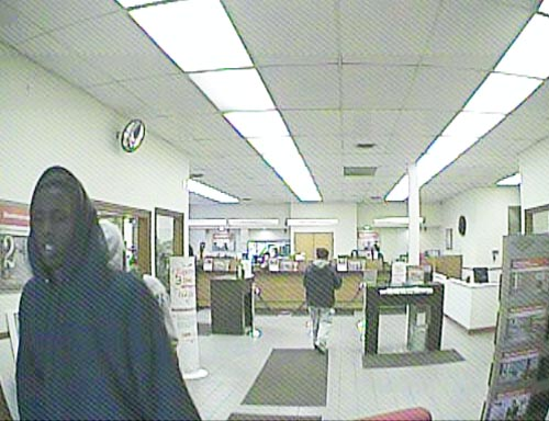 A security cam image of a suspect in the robbery.