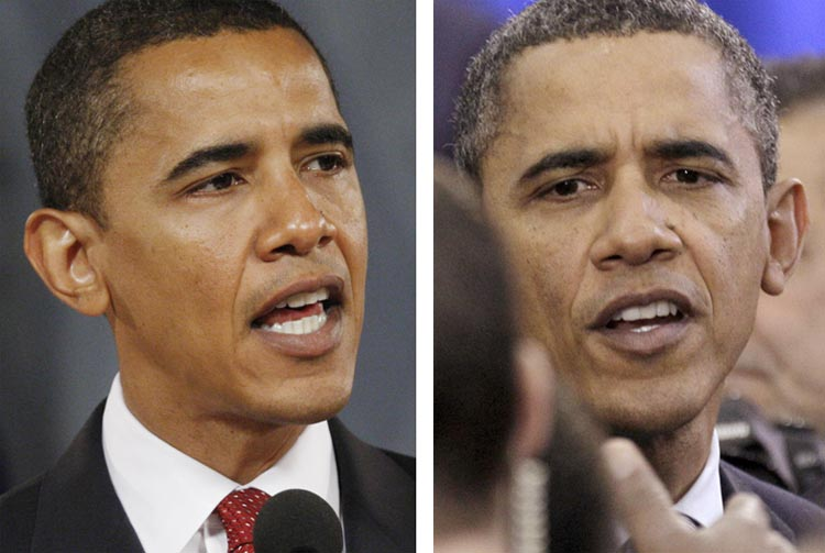 Then-presidential hopeful Sen. Barack Obama, left, in August 2007, and President Obama today.