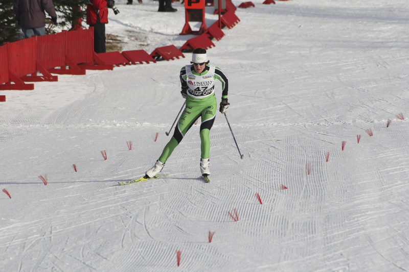 """Clare Egan races Tuesday morning in the 2012 U.S. Cross Country Championships at Black Mountain in Rumford, where she came in 19th among 152 women and qualified for the quarterfinals in the 1.4-kilometer sprints. A Cape Elizabeth native now racing for the Craftsbury Green Racing Project in Vermont, Egan wound up third in her quarterfinal heat and did not advance to the semifinals. She finished 13th overall in the quarterfinals. """"Top 15 is good,"""" she said, adding that she plans to race in the 10K freestyle Thursday, the 20K classical with a mass start Friday and Sunday's classical sprints."""