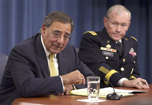 A Nov. 10, 2011, photo of Defense Secretary Leon Panetta and Joint Chiefs Chairman Gen. Martin Dempsey.