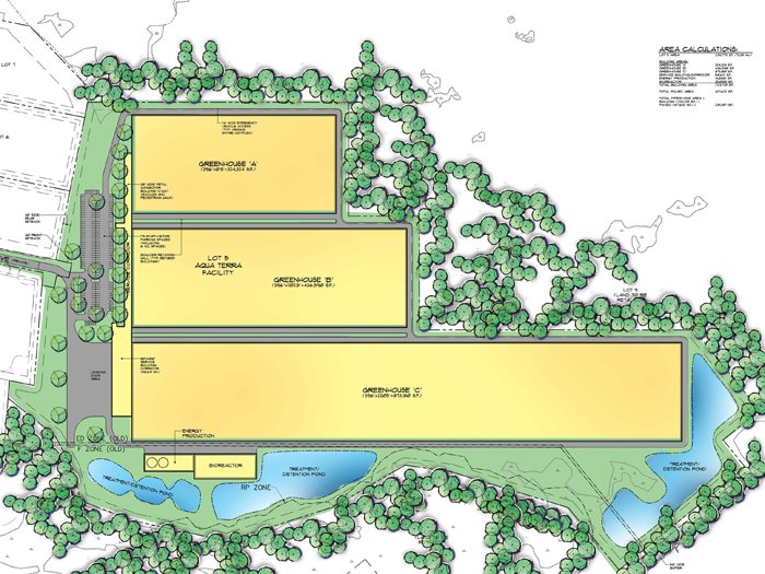 A concept drawing of the proposed Sebago Lakes greenhouse and fish farm facility. High-resolution pdf available below.