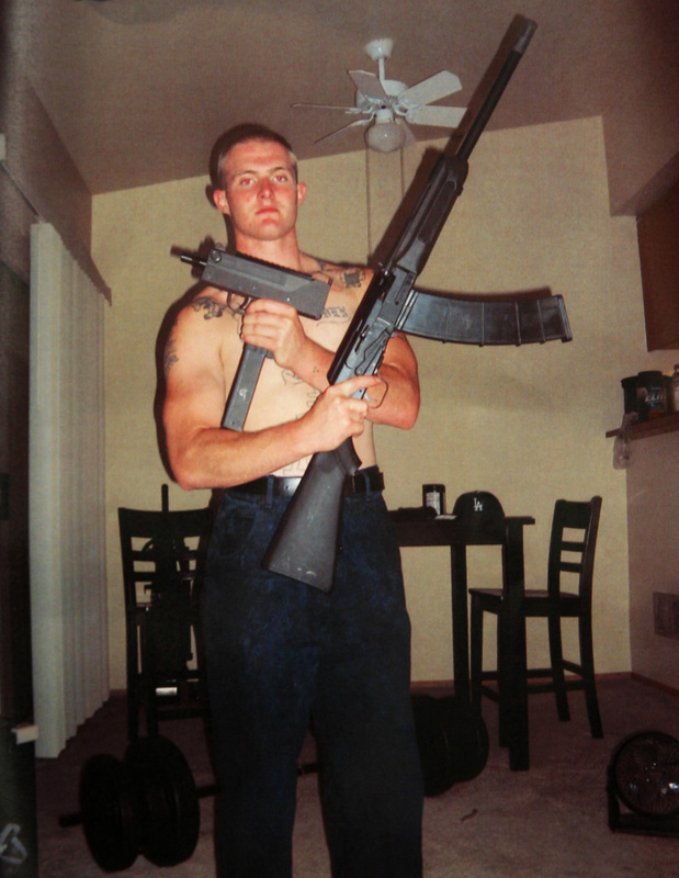 Benjamin Colton Barnes poses with weapons in an undated photo. He had been depressed since returning from the Iraq War, the mother of his toddler said.