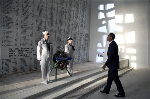 President Barack Obama participates in a wreath laying ceremony at the USS Arizona Memorial, part of the World War II Valor in the Pacific National Monument, Thursday, Dec. 29, 2011, in Pearl Harbor, Hawaii. (AP Photo/Carolyn Kaster) President Barack Obama participates in a wreath laying ceremony at the USS Arizona Memorial, part of the World War II Valor in the Pacific National Monument, Thursday, Dec. 29, 2011, in Pearl Harbor, Hawaii. (AP Photo/Carolyn Kaster)