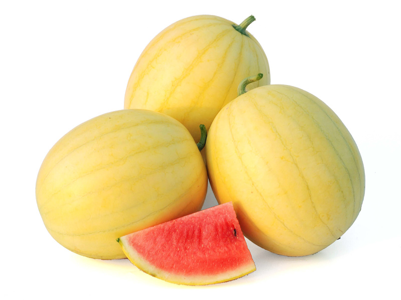 The Faerie watermelon has yellow skin with thin stripes and sweet pink flesh.