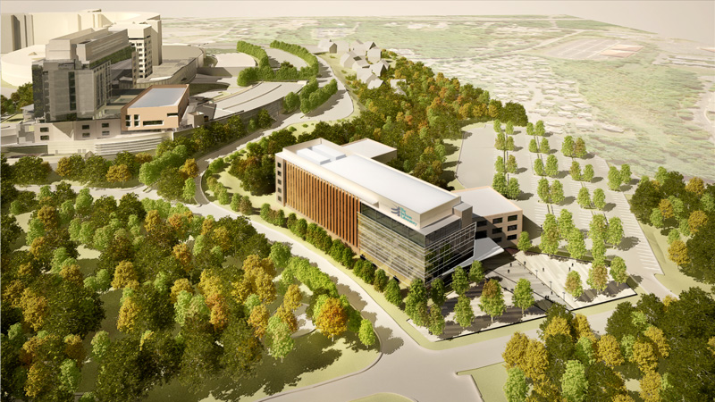 An artist's rendering of the proposed $1.1 billion Connecticut research complex. The building will be 250,000 square feet of state-of-the-art lab space. Officials estimate construction will begin in early 2013 and be completed by the end of 2014.