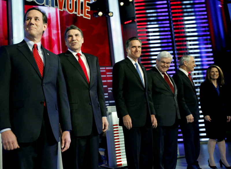 The GOP candidates, from left, former Pennsylvania Sen. Rick Santorum, Texas Gov. Rick Perry, former Massachusetts Gov. Mitt Romney, former Rep. Newt Gingrich, Rep. Ron Paul and Rep. Michele Bachmann, all contend they are best able to defeat President Obama.