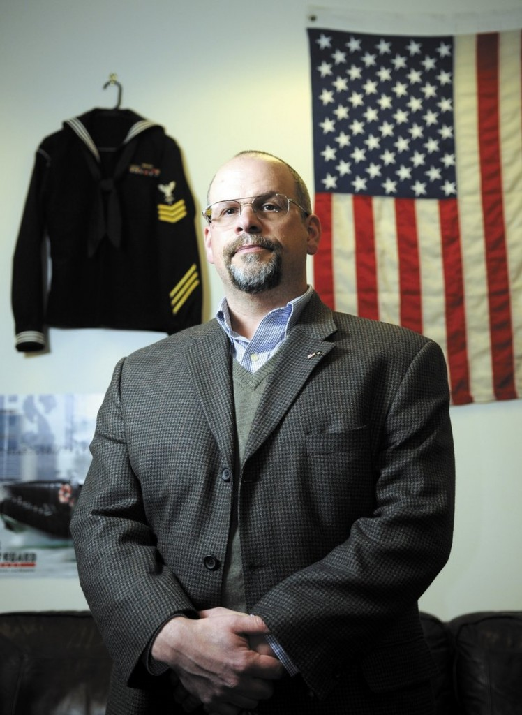 Chris Carson of Winthrop is enrolled at the University of Maine at Augusta through GI benefits he received after serving in the Coast Guard. He often studies at the veteran's lounge at the school, which is adorned with relics of past conflicts.