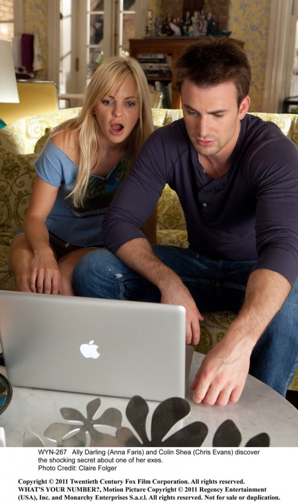 "Anna Faris and Chris Evans in ""What's Your Number."""