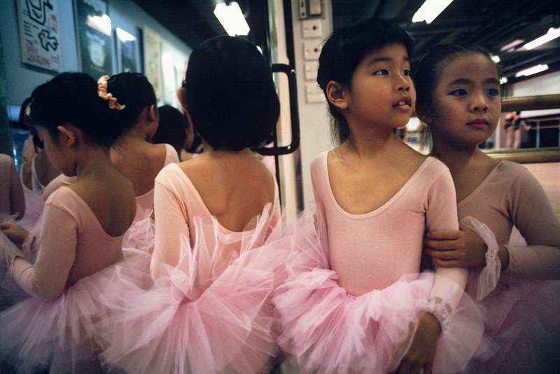 "Young ballerinas at the Jean Wong School of Ballet in Quarry Bay, Hong Kong, were photographed by James Marshall. The image is part of the exhibition ""Maine Photographers: Eyes on Asia"" at the Addison Woolley Gallery in Portland."