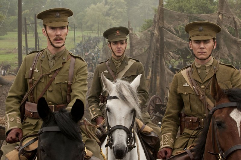 """From left, Benedict Cumberbatch, Patrick Kennedy and Tom Hiddleston in a scene from the Steven Spielberg-directed """"War Horse."""""""