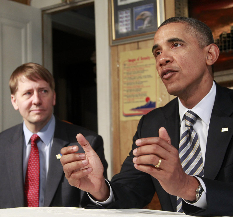 President Obama appears Wednesday with Richard Cordray, whose nomination to head a consumer agency was stalled in the Senate.