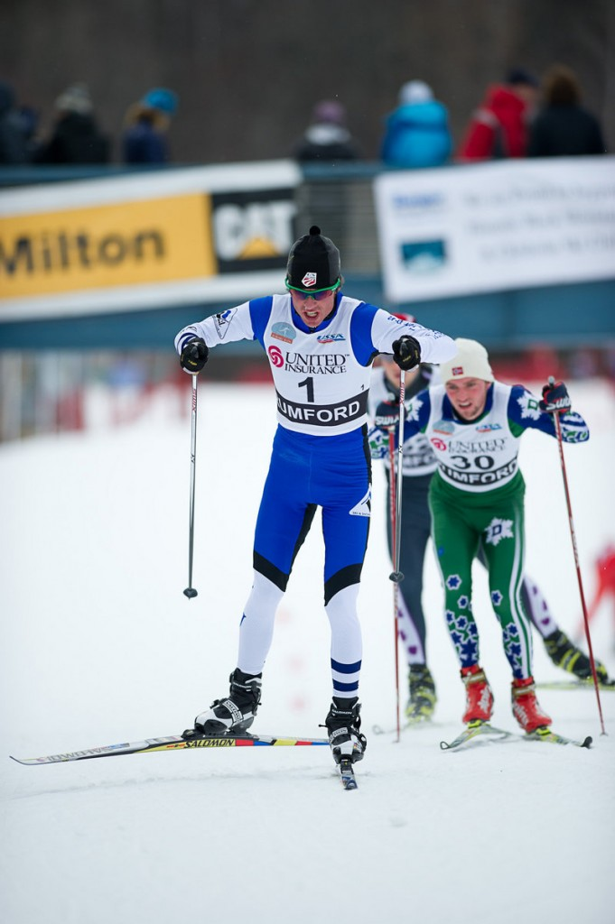 Coloradan Tad Elliot shows his considerable poling skills Thursday as he heads for victory in the men's 15K freestyle.
